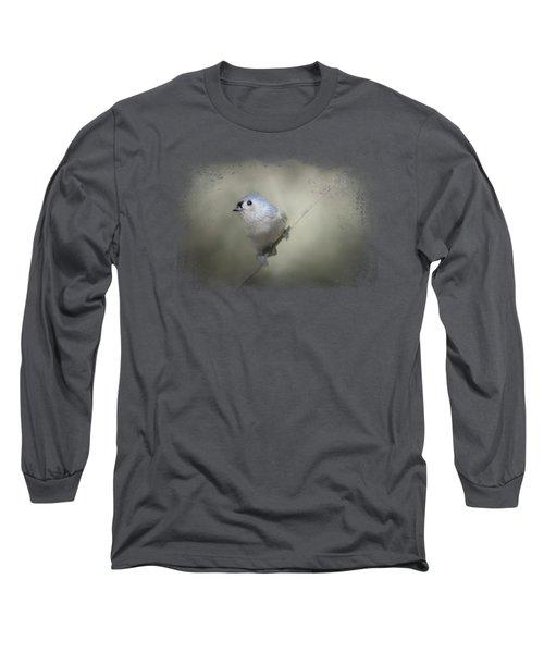 Little Tufted Titmouse Long Sleeve T-Shirt by Jai Johnson