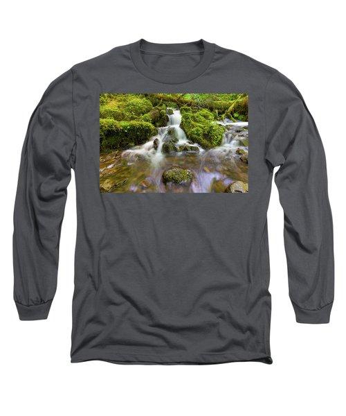 Little Waterfalls Along Wahkeena Creek Long Sleeve T-Shirt