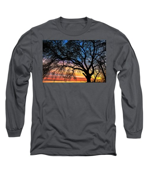 Live Oak Under A Rainbow Sky Long Sleeve T-Shirt