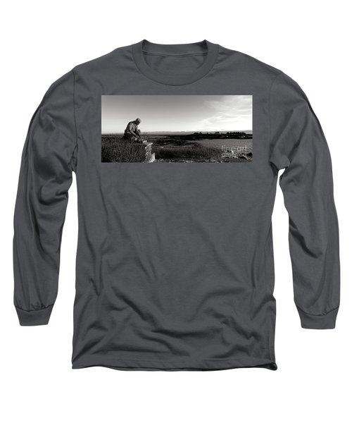 Lobsterman Statue On Bailey Island  Long Sleeve T-Shirt