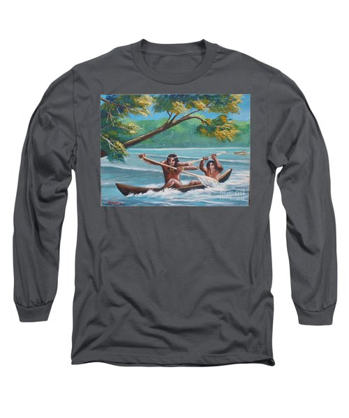 Locals Rowing In The Amazon River Long Sleeve T-Shirt