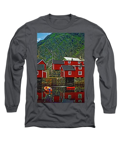 Lofoten Fishing Huts Long Sleeve T-Shirt by Steve Harrington