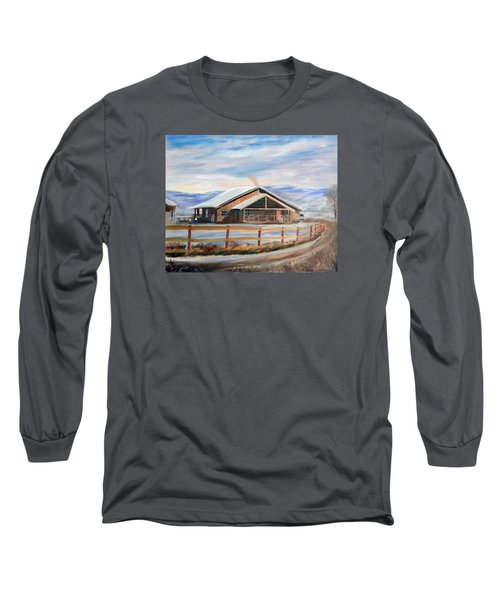 Log Cabin House In Winter Long Sleeve T-Shirt by Sherril Porter