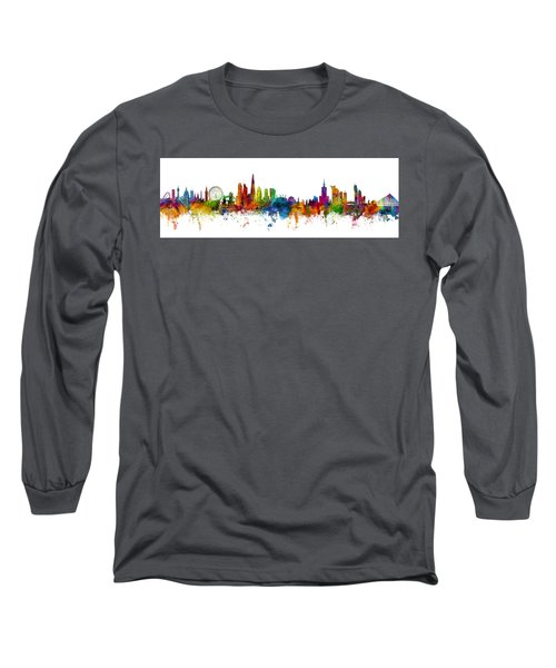London And Warsaw Skylines Mashup Long Sleeve T-Shirt
