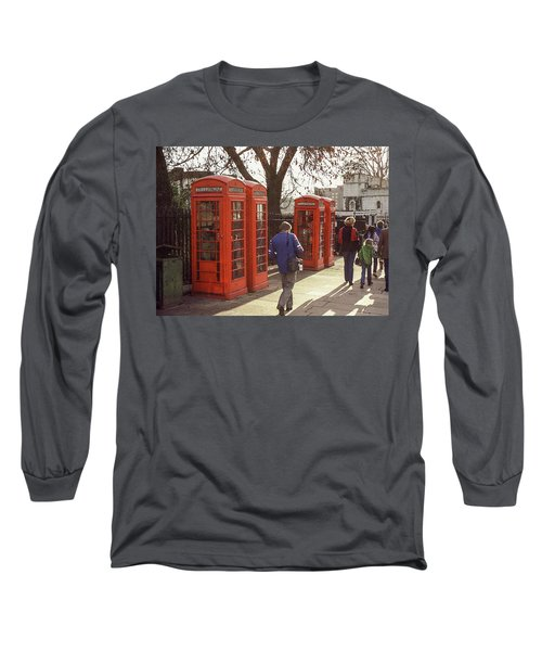 London Call Boxes Long Sleeve T-Shirt by Jim Mathis