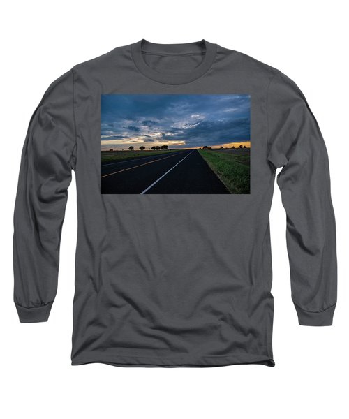 Lone Highway At Sunset Long Sleeve T-Shirt