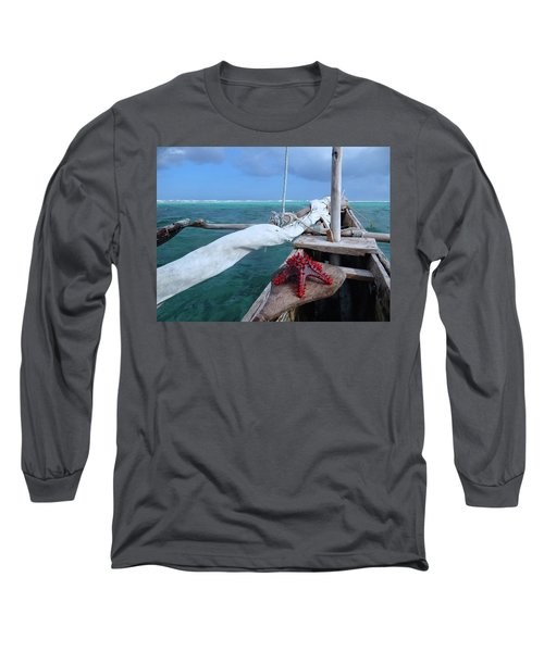 Lone Red Starfish On A Wooden Dhow 1 Long Sleeve T-Shirt