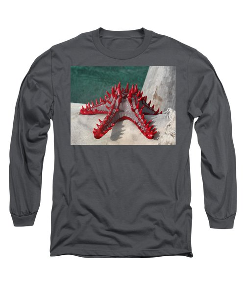 Lone Red Starfish On A Wooden Dhow 3 Long Sleeve T-Shirt