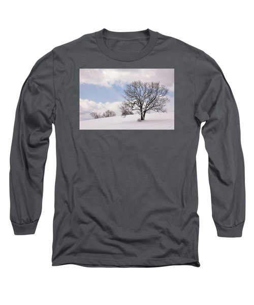 Lone Tree In Snow Long Sleeve T-Shirt by Betty Denise