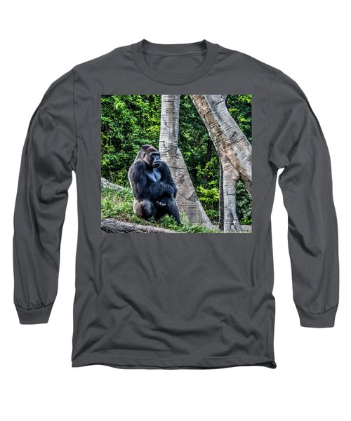 Long Sleeve T-Shirt featuring the photograph Lonely Gorilla by Joann Copeland-Paul