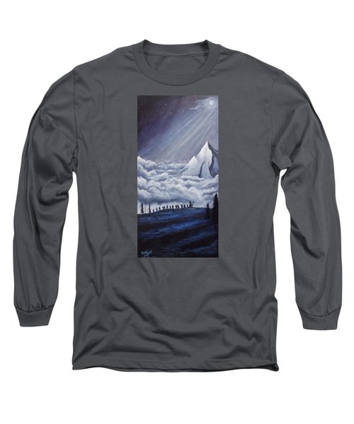 Long Sleeve T-Shirt featuring the painting Lonely Mountain by Dan Wagner
