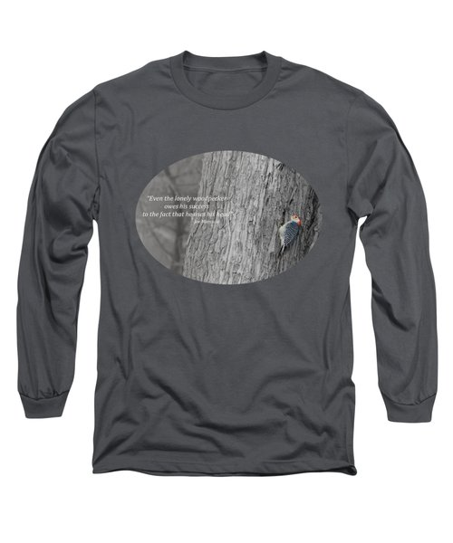 Lonely Woodpecker Long Sleeve T-Shirt by Jan M Holden