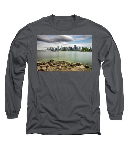 Long Exposure Of Vancouver City Long Sleeve T-Shirt by Pierre Leclerc Photography