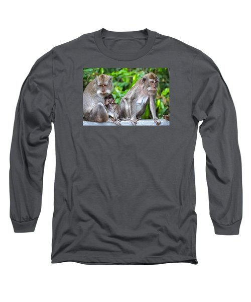 Long Tailed Macaques Long Sleeve T-Shirt by Cassandra Buckley