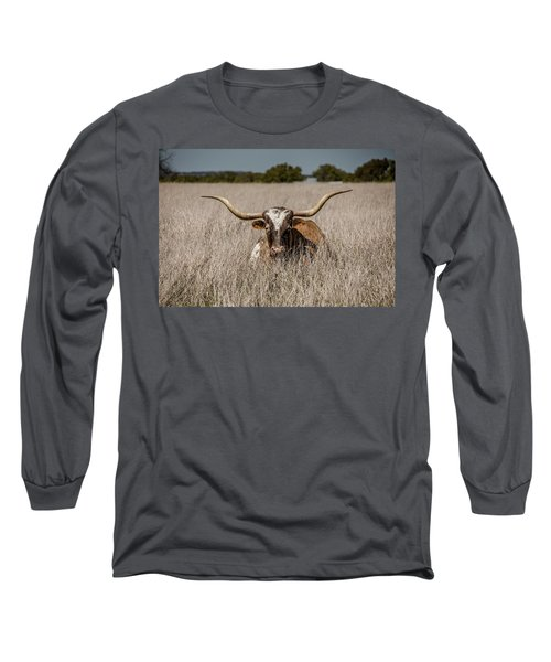 Longhorn In The Grass - 2571 Long Sleeve T-Shirt