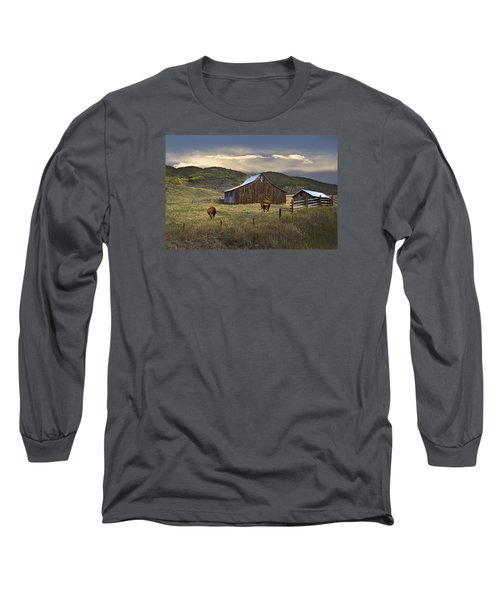 Long Sleeve T-Shirt featuring the photograph Longhorns On The Road To Steamboat Lake by John Hix