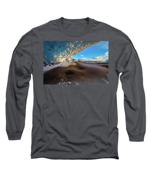 Long Sleeve T-Shirt featuring the photograph Look Out From Glacier Cave by Allen Biedrzycki