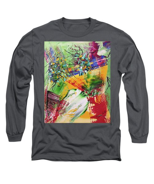 Long Sleeve T-Shirt featuring the painting Looking Beyound The Present by Sima Amid Wewetzer