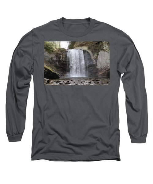 Looking Glass Falls Front View Long Sleeve T-Shirt