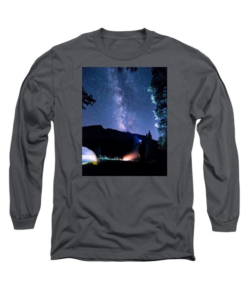 Looking Up At Milky Way Long Sleeve T-Shirt by Michael J Bauer