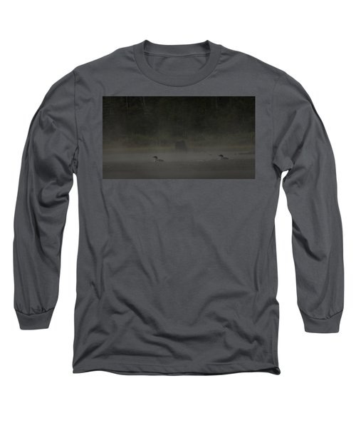 Loon And Moose In The Mist Long Sleeve T-Shirt