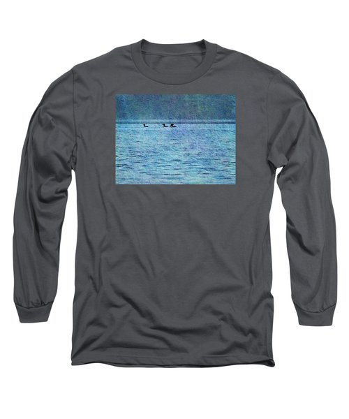 Loons On The Lake Long Sleeve T-Shirt by Joy Nichols
