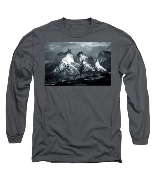 Long Sleeve T-Shirt featuring the photograph Los Cuernos In Black And White by Andrew Matwijec
