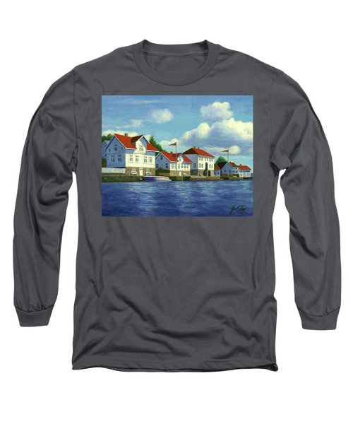 Long Sleeve T-Shirt featuring the painting Loshavn Village Norway by Janet King