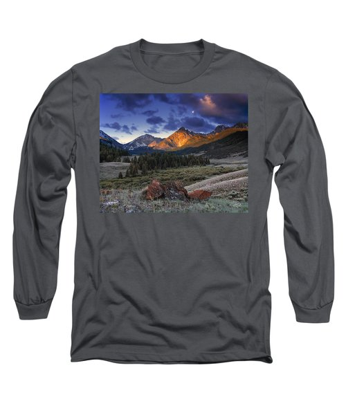 Long Sleeve T-Shirt featuring the photograph Lost River Mountains Moon by Leland D Howard