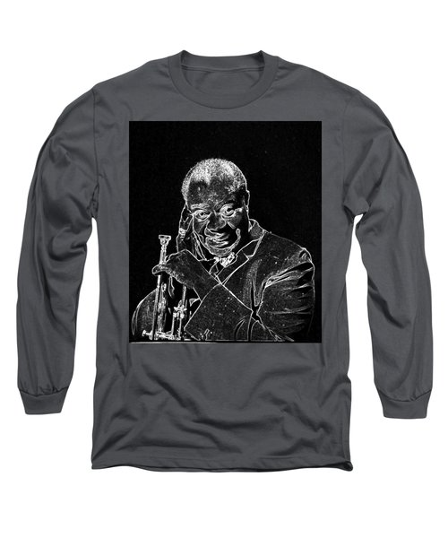 Long Sleeve T-Shirt featuring the mixed media Louis Armstrong by Charles Shoup
