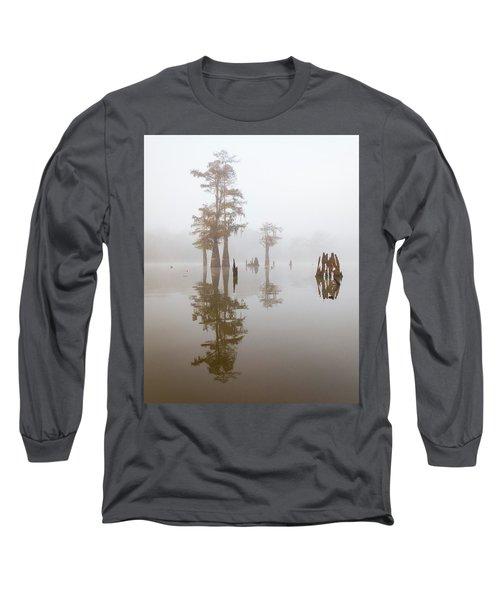 Louisiana Cypress Swamp On A Foggy Morning Long Sleeve T-Shirt