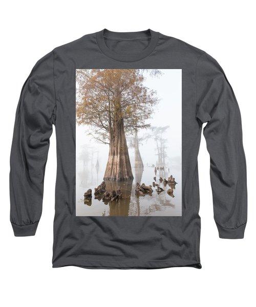Louisiana Cypress Swamp On A Foggy Morning Four Long Sleeve T-Shirt