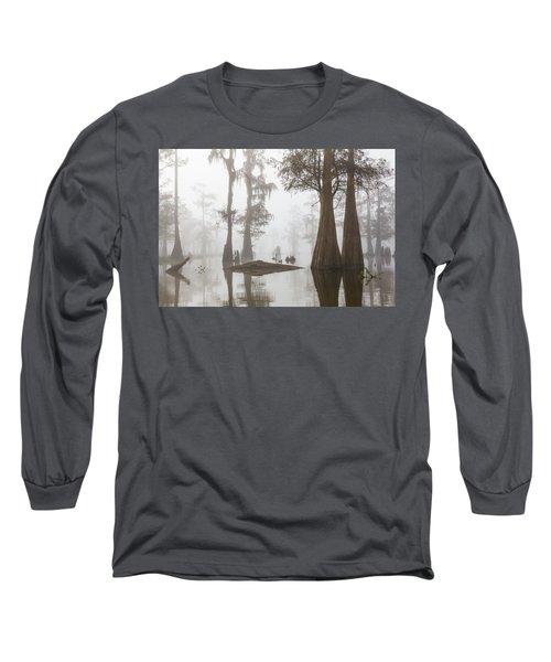 Louisiana Cypress Swamp On A Foggy Morning Three Long Sleeve T-Shirt