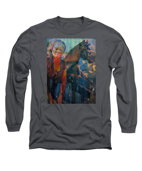 Long Sleeve T-Shirt featuring the digital art Loulou And Me by Fania Simon