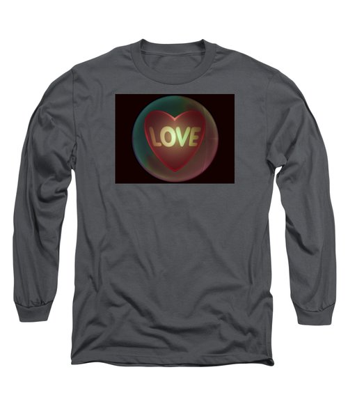Love Heart Inside A Bakelite Round Package Long Sleeve T-Shirt