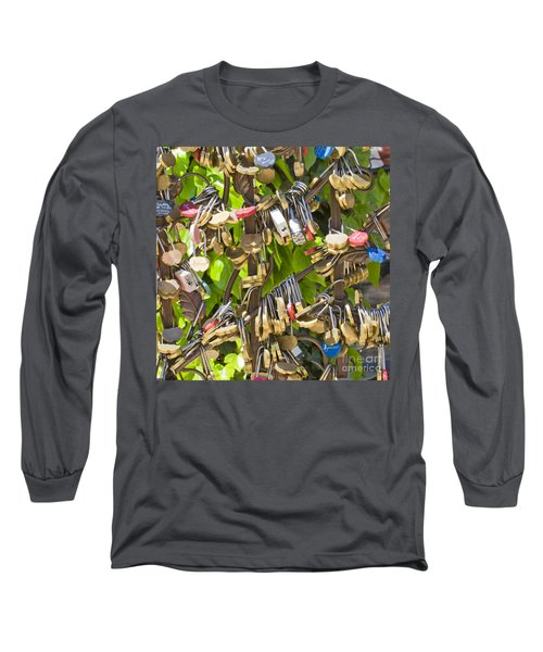 Long Sleeve T-Shirt featuring the photograph Love Locks Square by Chris Dutton