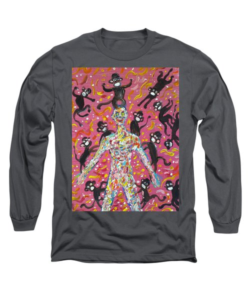 Long Sleeve T-Shirt featuring the painting Loved By The Monkeys by Fabrizio Cassetta