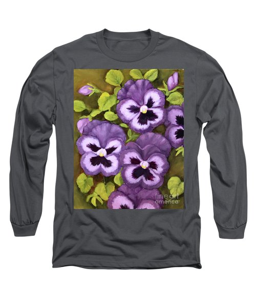 Long Sleeve T-Shirt featuring the painting Lovely Purple Pansy Faces by Inese Poga