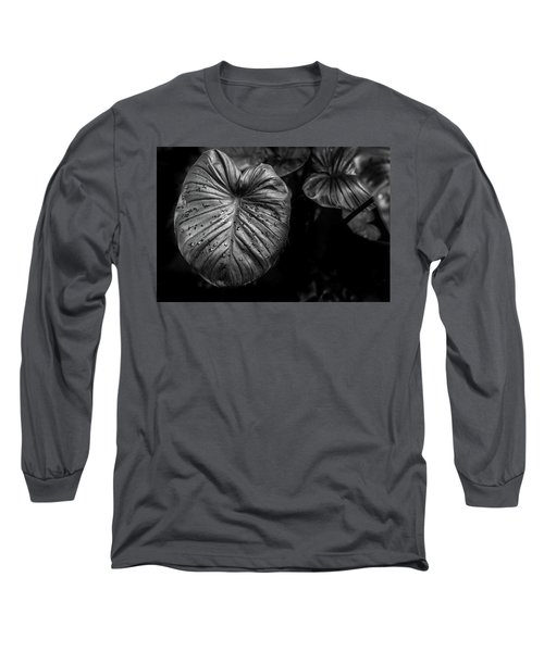 Low Key Nature Background, Textured Plants, Leaves For Decorativ Long Sleeve T-Shirt by Jingjits Photography