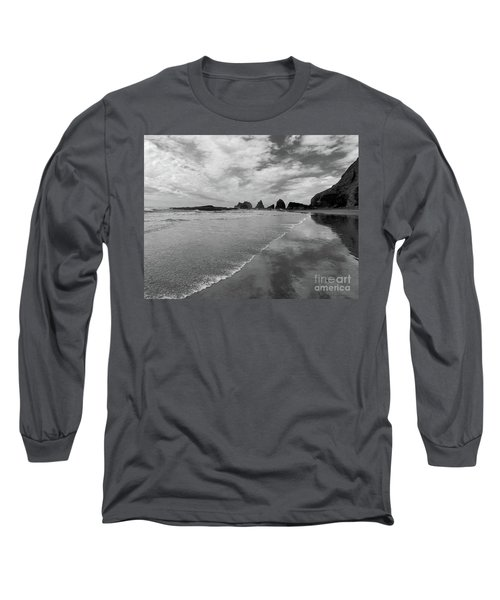 Low Tide - Black And White Long Sleeve T-Shirt by Scott Cameron