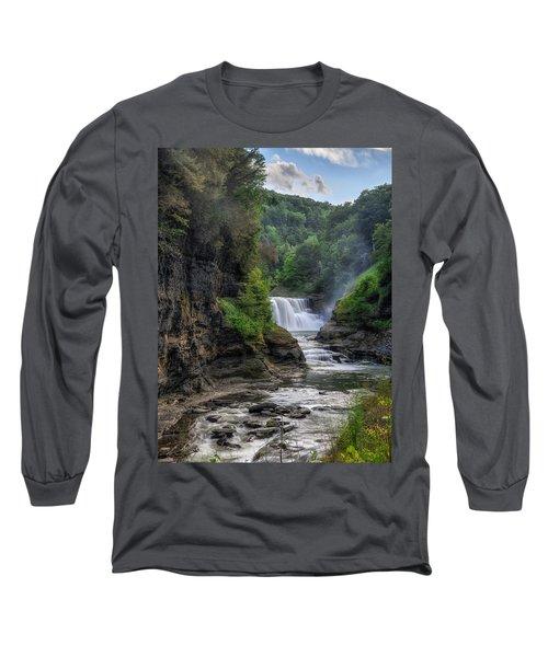 Lower Falls - Summer Long Sleeve T-Shirt by Mark Papke