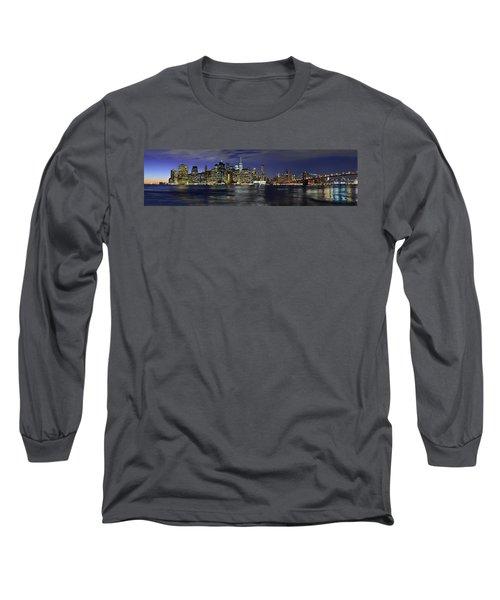 Lower Manhattan From Brooklyn Heights At Dusk - New York City Long Sleeve T-Shirt