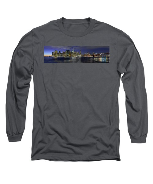 Lower Manhattan From Brooklyn Heights At Dusk - New York City Long Sleeve T-Shirt