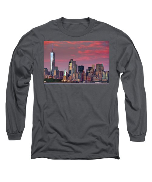 Long Sleeve T-Shirt featuring the photograph Lower Manhattan In Pink by Emmanuel Panagiotakis