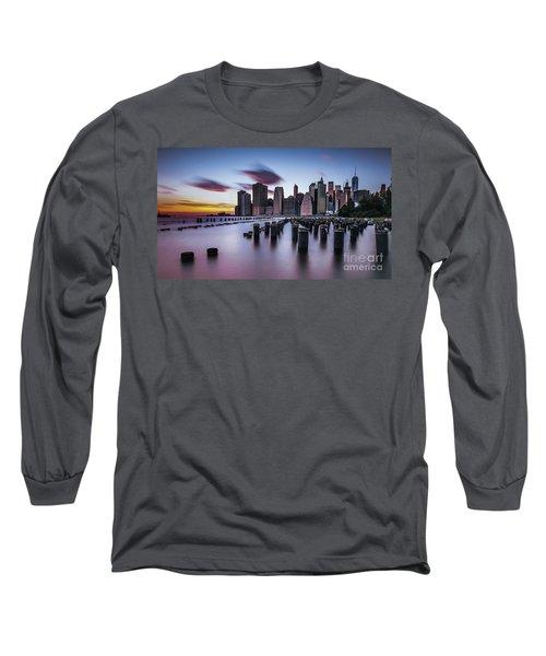 Lower Manhattan Purple Sunset Long Sleeve T-Shirt