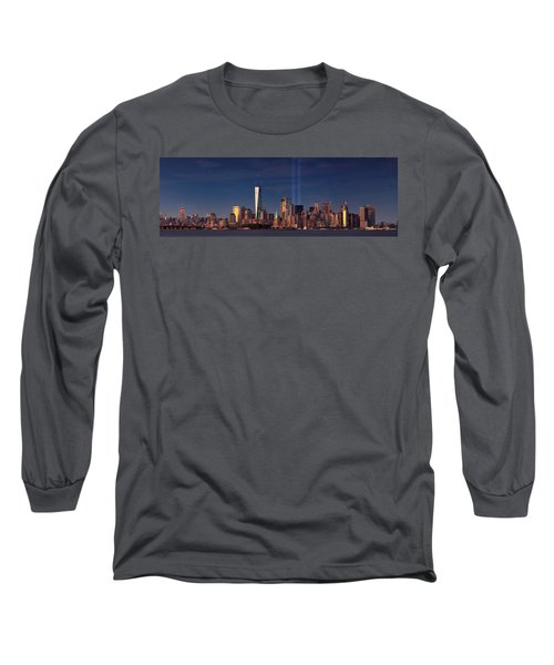 Long Sleeve T-Shirt featuring the photograph Lower Manhattantribute In Light by Emmanuel Panagiotakis