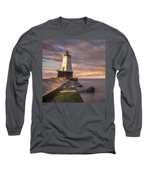 Long Sleeve T-Shirt featuring the photograph Ludington North Breakwater Light At Dawn by Adam Romanowicz