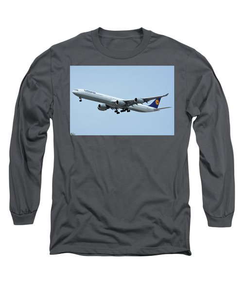Long Sleeve T-Shirt featuring the photograph Lufthansa Airbus A340-600 D-aihw Los Angeles International Airport May 3 2016 by Brian Lockett