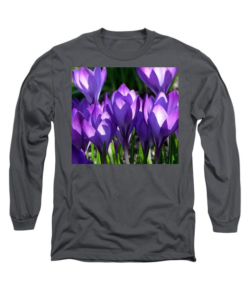 Long Sleeve T-Shirt featuring the photograph Luminous Floral Geometry by Byron Varvarigos