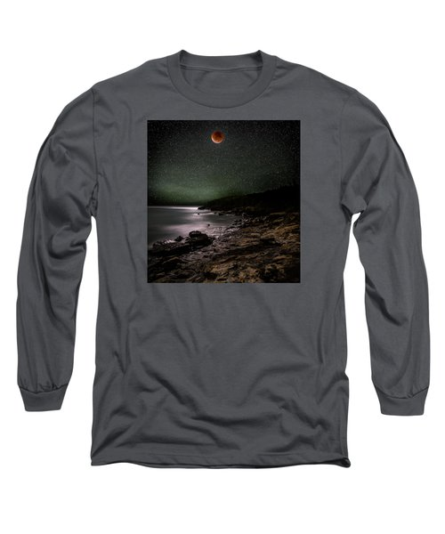 Lunar Eclipse Over Great Head Long Sleeve T-Shirt by Brent L Ander